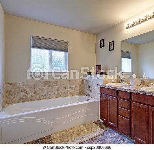 Ducha, elegante, cuarto de baño, maestro, bathtub. Cuarto de baño ...