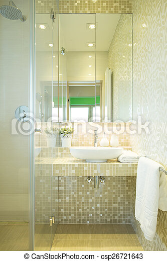 Ducha, moderno. Cuarto de baño, moderno, ducha, lujo, nuevo, mármol.