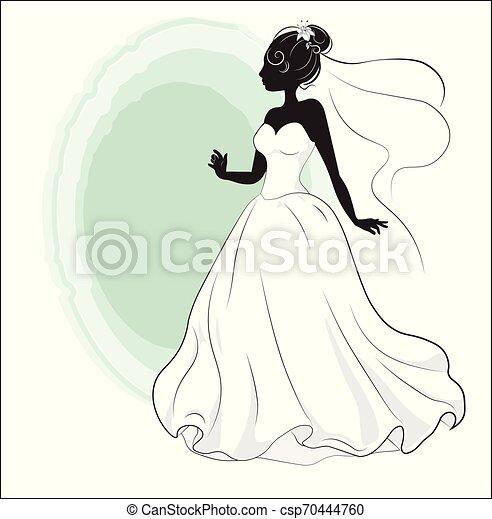 Ducha de novia en un vestido de novia blanco - csp70444760