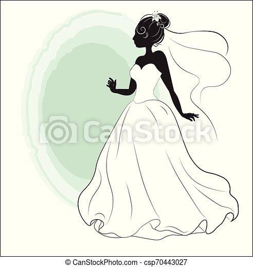 Ducha de novia en un vestido de novia blanco - csp70443027