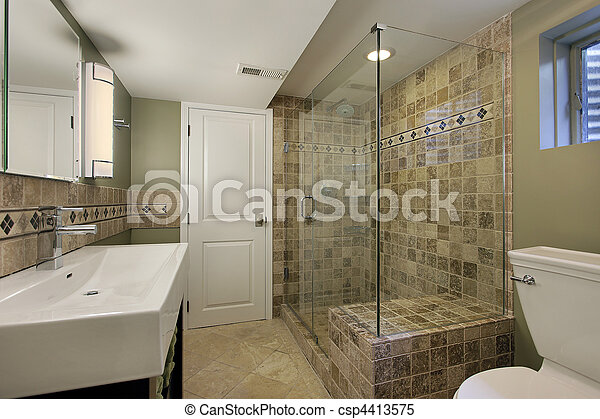 Ducha, vidrio, cuarto de baño, casa luxury.