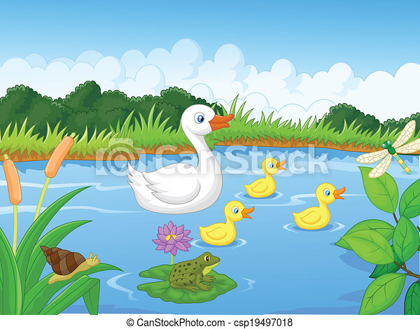 Duck family cartoon swimming - csp19497018
