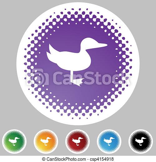 Duck Halftone Icon Set - csp4154918