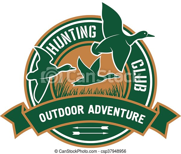 Duck hunting retro badge for hunters club design - csp37948956