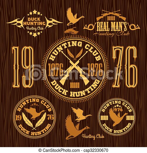 Duck Hunting - vector set for hunting emblem - csp32330670
