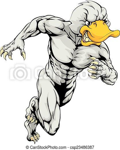 Duck mascot running - csp23486387