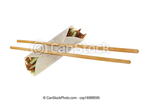 Duck roll and chopsticks - csp16988595