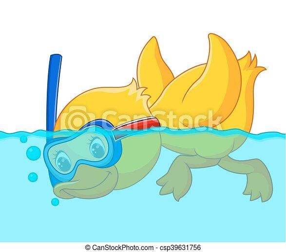 duck snorkeling cartoon - csp39631756