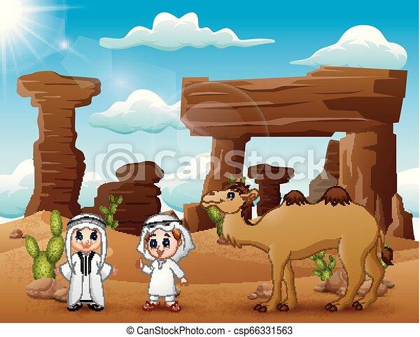 due, arabo, ragazzi, cammelli, deserto, strada - csp66331563
