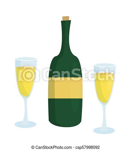 due, etichetta, senza, bottiglia, bicchieri champagne - csp57998092