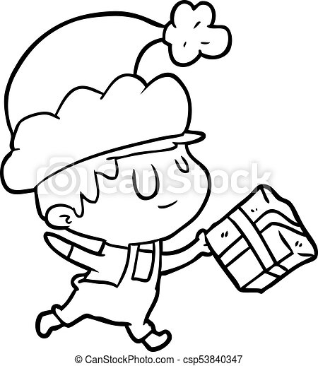 duende desenho linha presente natal feliz