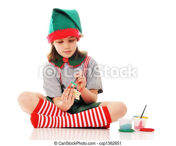 duende, natal, trabalhando - csp1362651