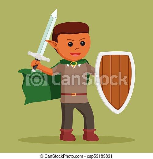 Elfo africano con escudo y espada - csp53183831