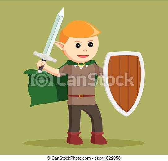 Elfo con escudo y espada - csp41622358