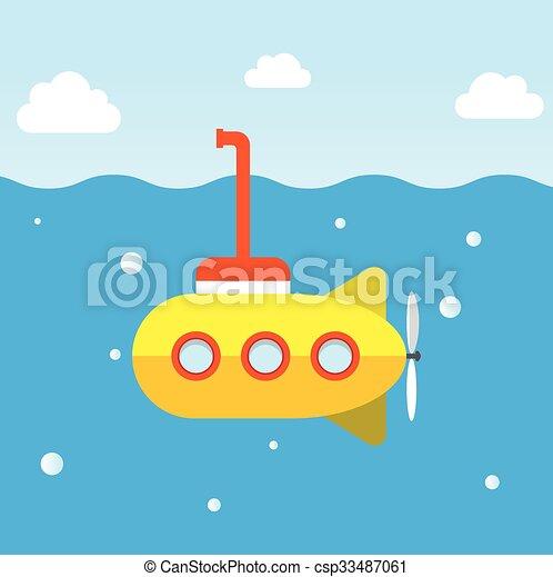 duikboot, onderzoek, gele, onderzees - csp33487061