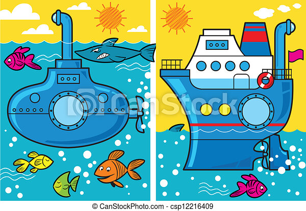 duikboot, spotprent, scheeps  - csp12216409