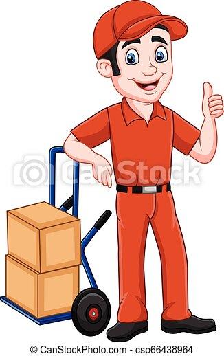 duim, het opgeven, aflevering, neiging, pakketten, spotprent, man - csp66438964