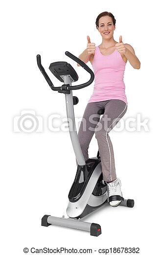 duimen, fiets, mooi, stationair, op, gesturing, vrouw - csp18678382