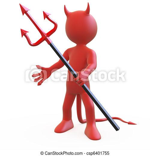 duivel, driesprong, zijn, het poseren - csp6401755