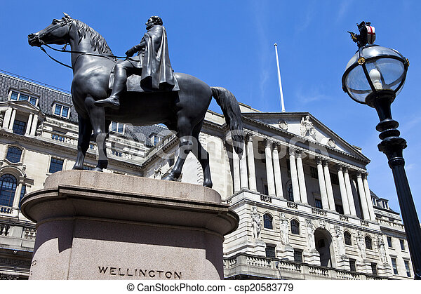 Duke of Wellington Statue and the Bank of England in London - csp20583779