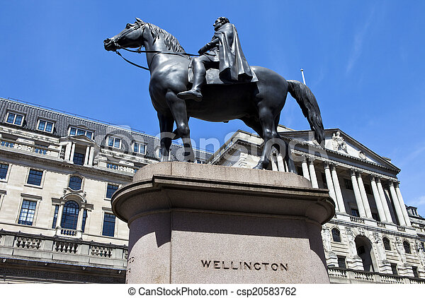 Duke of Wellington Statue and the Bank of England in London - csp20583762