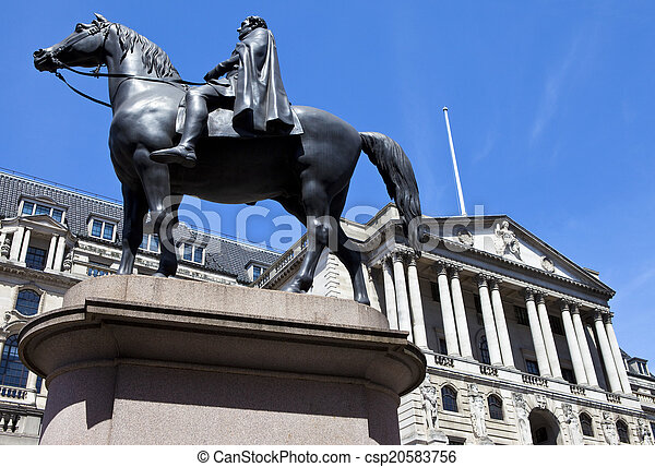 Duke of Wellington Statue and the Bank of England in London - csp20583756