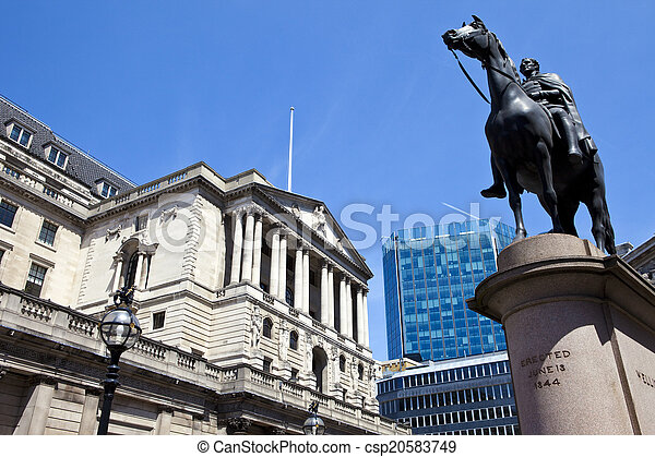 Duke of Wellington Statue and the Bank of England in London - csp20583749