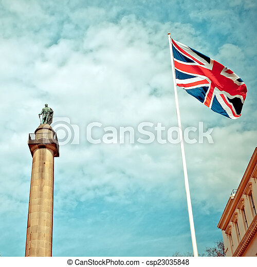 Duke of York Column in London next to Union Jack - csp23035848