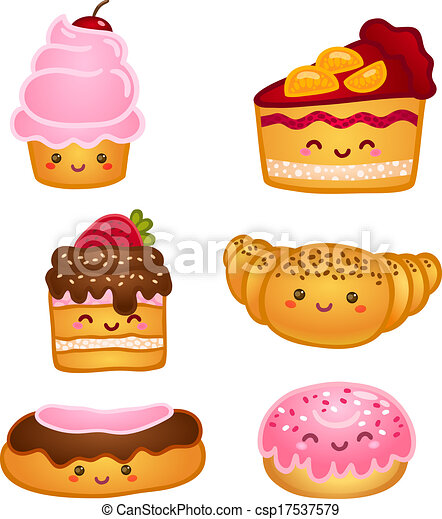 dulce, colección, pasteles - csp17537579
