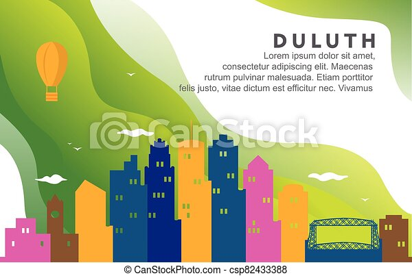 Duluth Minnesota City Building Cityscape Skyline Dynamic Background Illustration - csp82433388