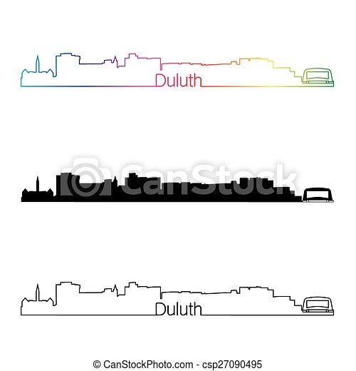 Duluth skyline linear style with rainbow - csp27090495