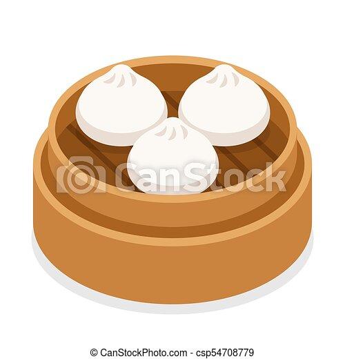 Dum sum dumplings in basket - csp54708779