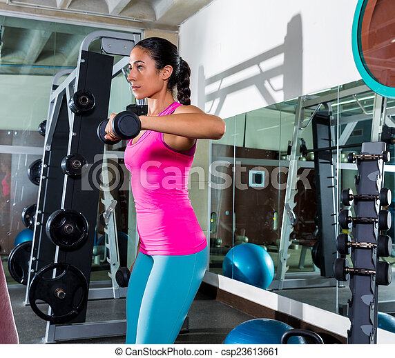 dumbbell front shoulder flies fly woman workout exercise