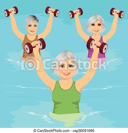 dumbbells, gym, blauwgroen, oefeningen, vervaardiging, seniore vrouwen, pool, zwemmen - csp36091666