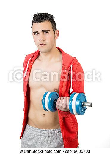 dumbbells, joven, muscular, hombre - csp19005703
