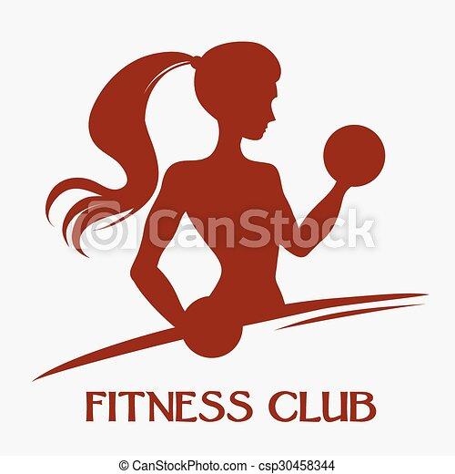Una mujer delgada con pesas - csp30458344