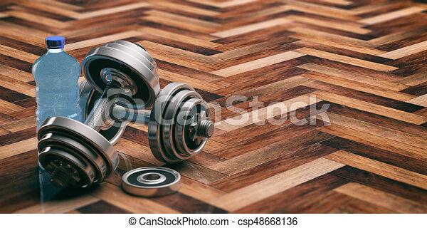 Dumbbells on a wooden floor. 3d illustration - csp48668136