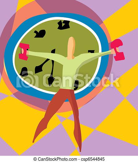 dumbbells, relógio, segurando, vista dianteira, homem - csp6544845
