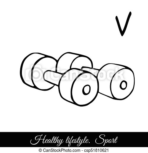 Dumbbells sketch vector icon. A call to play sports for health - csp51810621