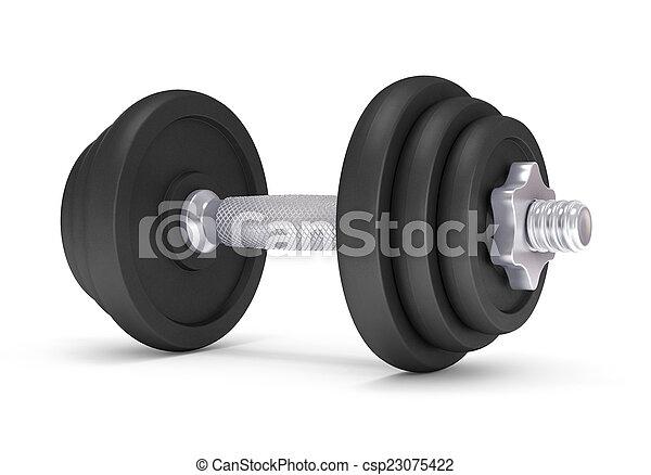 dumbells, grande, encima, fondo negro, blanco - csp23075422