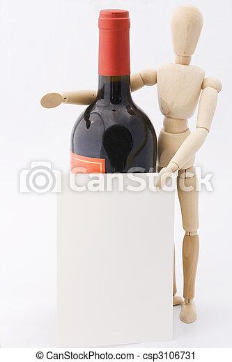 Dummy presents red wine bottle - csp3106731