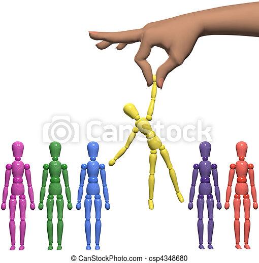La mano femenina encuentra el maniquí elegido de la línea falsa. - csp4348680