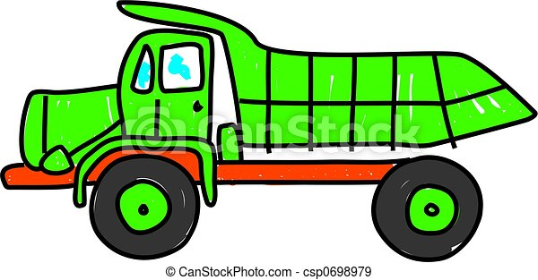 Green Dump Truck Isolated On White Drawn In Toddler Art Style