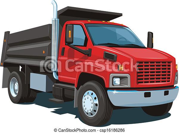 Dump Truck Vector Isolated Red Dump Truck On White
