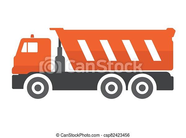 Dump truck flat vector illustration. - csp82423456