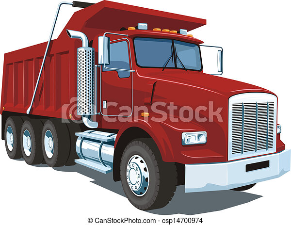 Dump Truck Vector Isolated Red On White Background