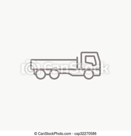 Dump truck line icon. - csp32270586
