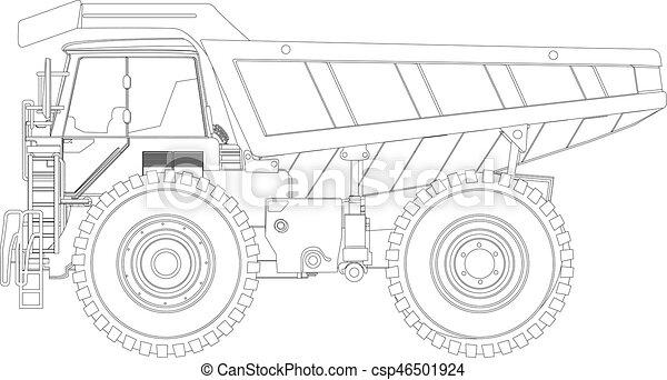 Dump Truck Sketch Heavy Duty Line Drawing