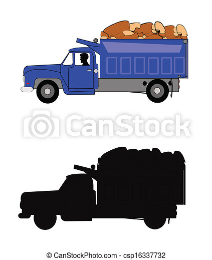 dump truck with driver in seat - csp16337732