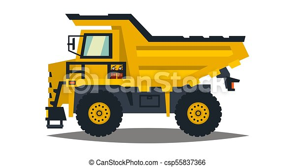 Dumper. Big car. Yellow truck. Isolated on white background. Flat style - csp55837366